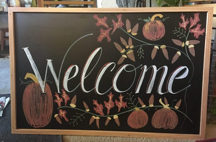 welcome sign chalkboard