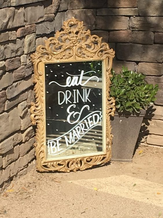 Sign Rental Wedding Gold Mirror