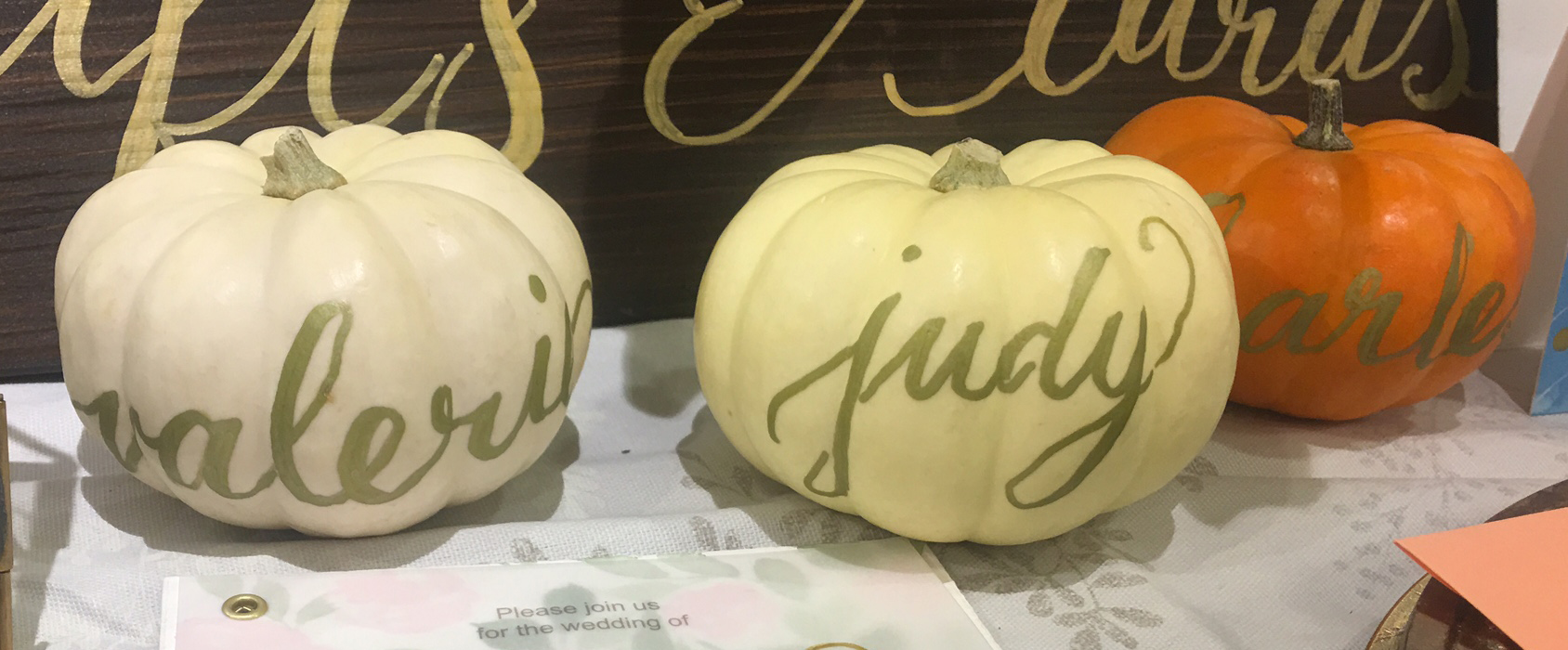 Thanksgiving Placecard Pumpkins Decorated With Modern Calligraphy