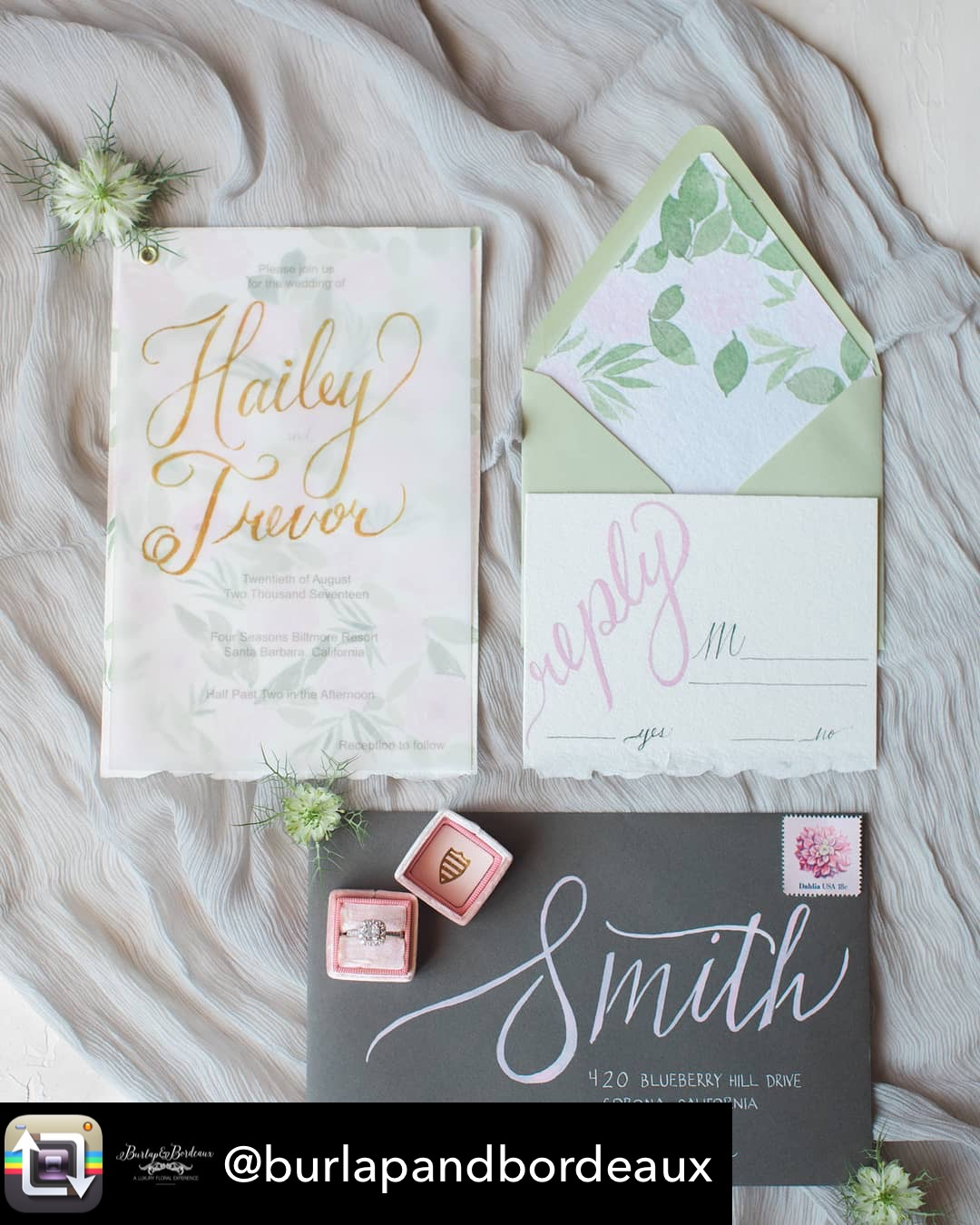 Watercolor florals and hand calligraphy