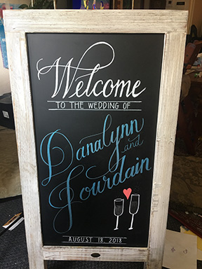 custom wedding welcome chalkboard calligraphy