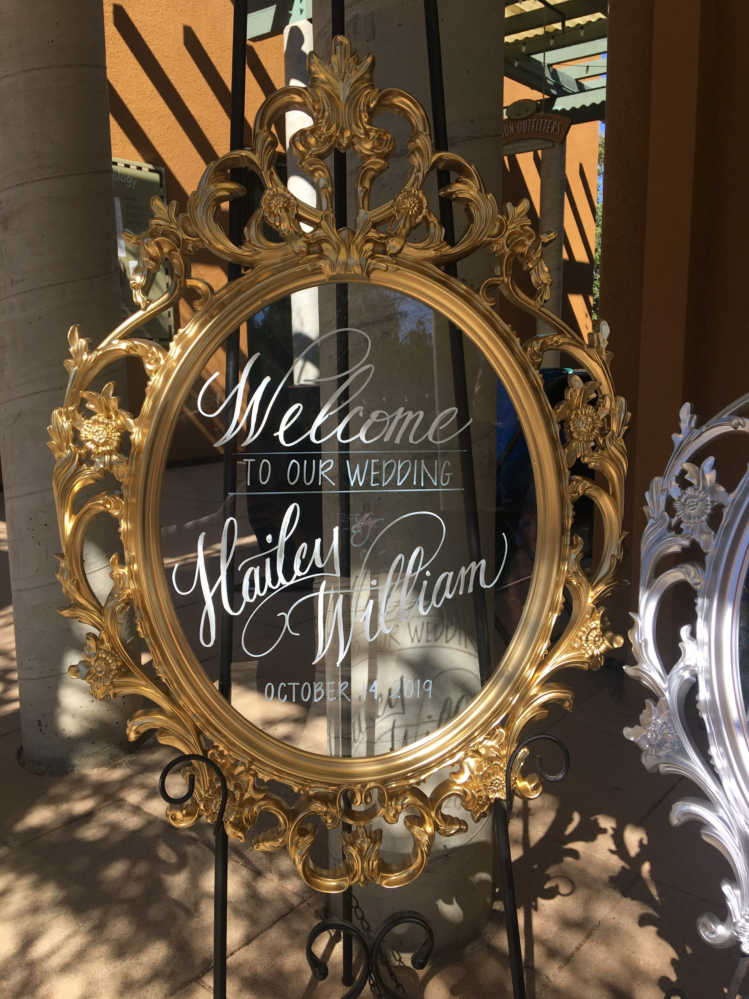 modern calligraphy wedding welcome sign in gold frame