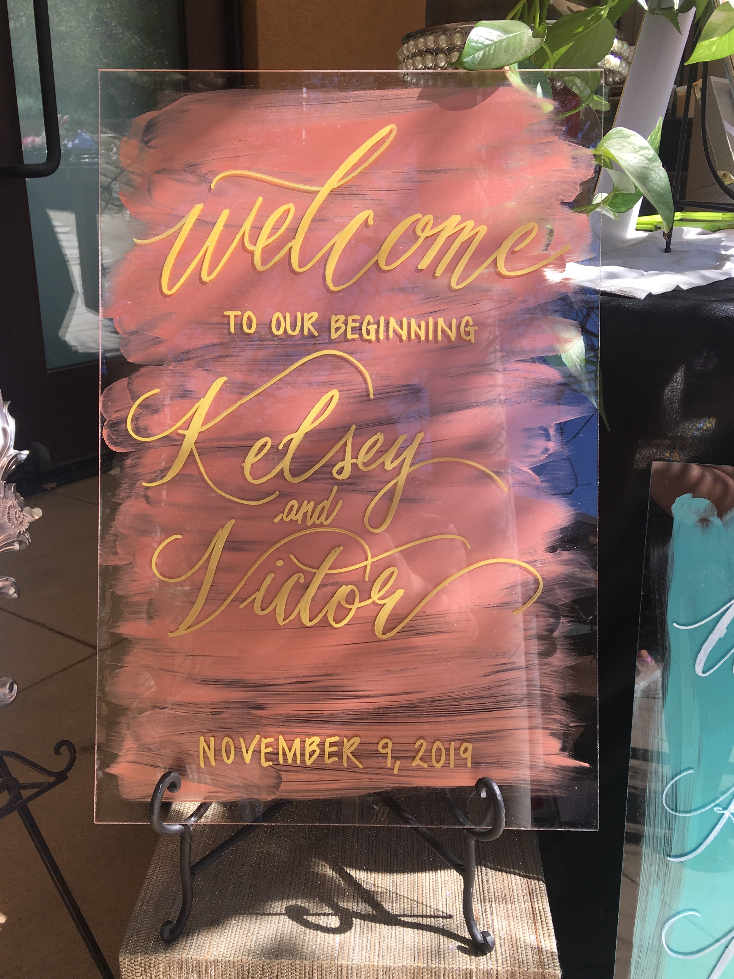 Color Wash And Personalized Modern Calligraphy Welcome Wedding Sign
